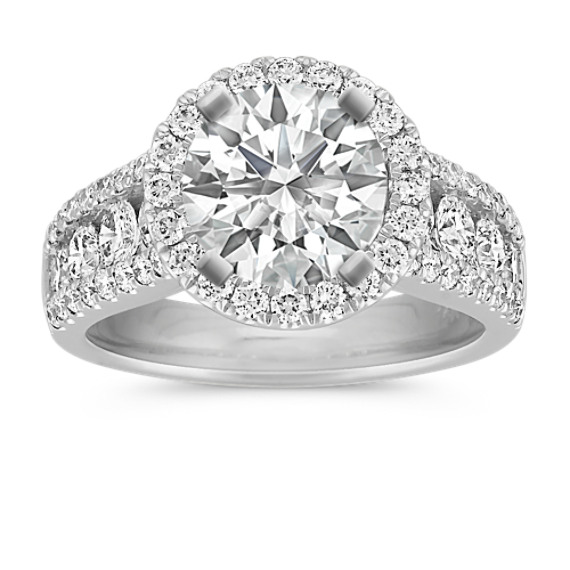 Round Halo Diamond Engagement Ring with Channel-Setting