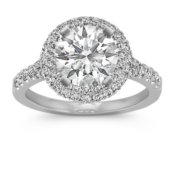 Two Tiered Halo Round Diamond Engagement Ring