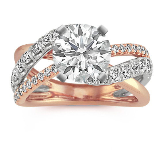 Swirl Diamond Engagement Ring in 14k White and Rose Gold
