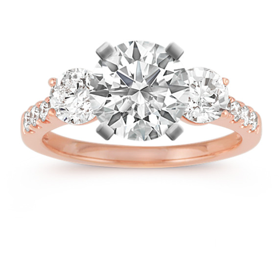 Cathedral Three-Stone Round Diamond Engagement Ring in 14k Rose Gold