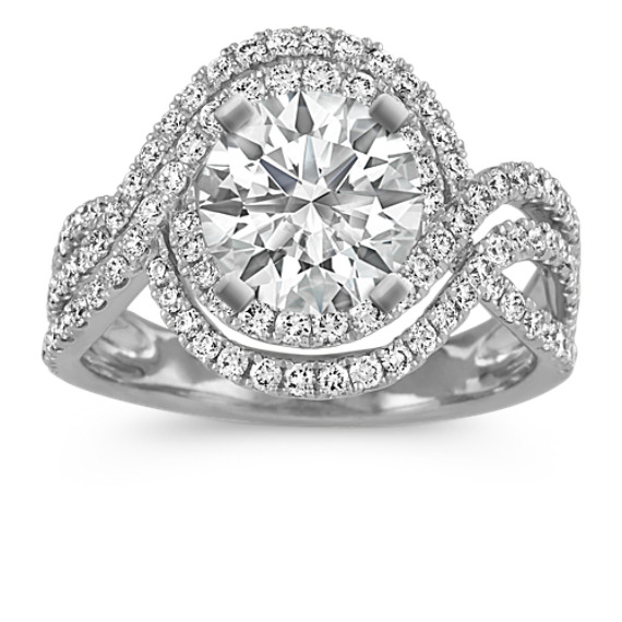 Round Diamond Swirl Engagement Ring