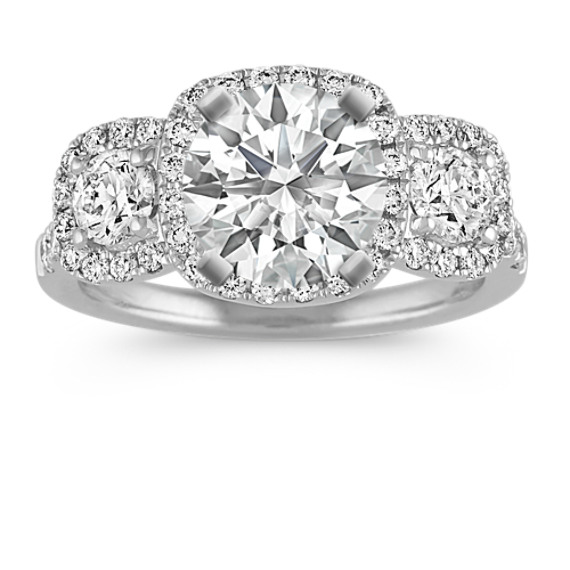 Three-Stone Diamond Halo Engagement Ring