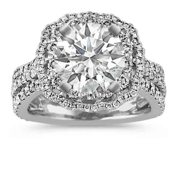 Scalloped Halo Diamond Engagement Ring