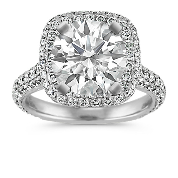 Pave Halo Diamond Engagement Ring