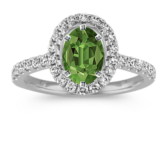 Classic Oval Halo Diamond Engagement Ring