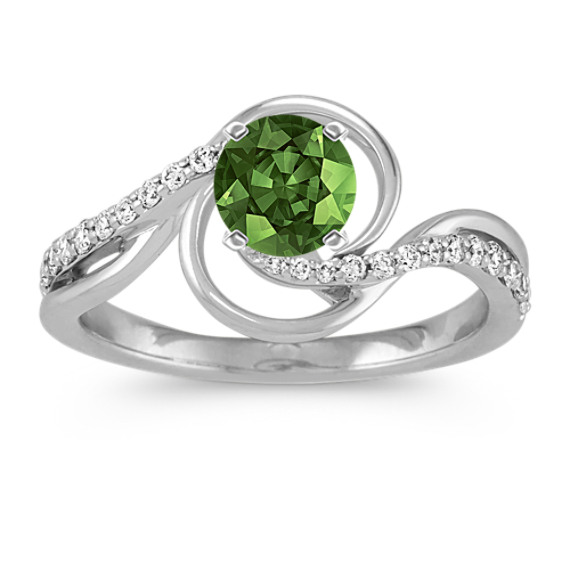 Round Diamond Swirl Ring in 14k White Gold