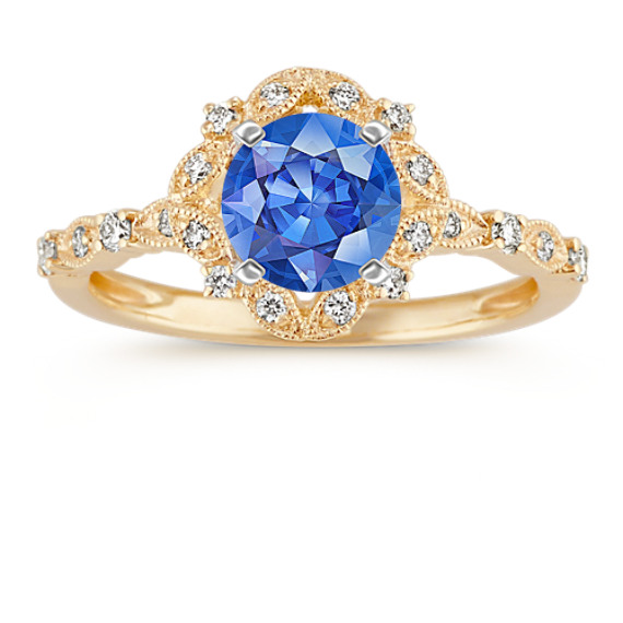 Vintage Diamond Halo Engagement Ring in 14k Yellow Gold