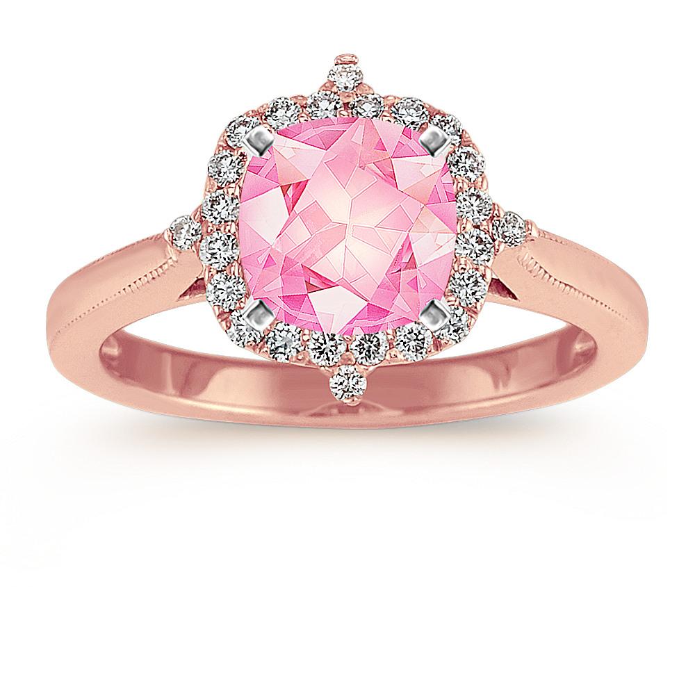 Vintage Diamond Halo Ring in 14k Rose Gold | Shane Co.