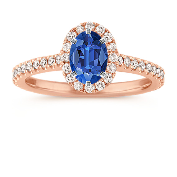Halo Diamond Engagement Ring for 1.00 Carat Oval in 14k Rose Gold