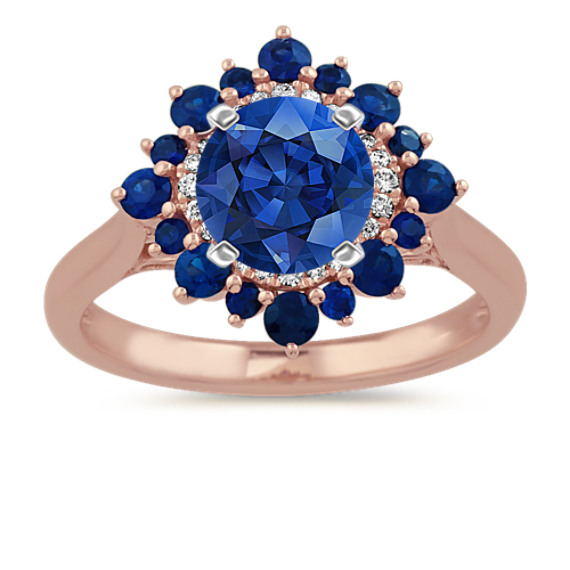 Traditional Blue Sapphire and Diamond Halo Engagement Ring