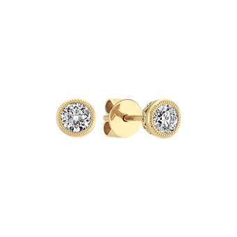 Bezel Set Diamond Earrings In 14k Yellow Gold