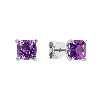 Cushion Cut Amethyst Earrings In Sterling Silver