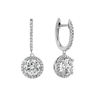 Diamond Dangle Earrings In 14k White Gold