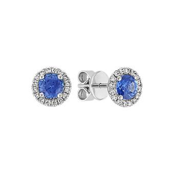 Halo Kentucky Blue Shire And Diamond Earrings