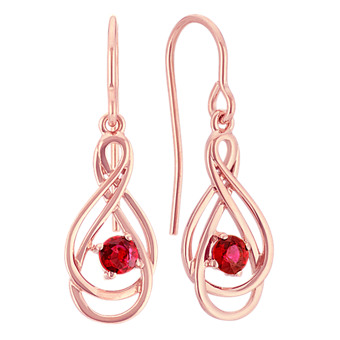 57fe8047200 Round Ruby Swirl Dangle Earrings in 14k Rose Gold