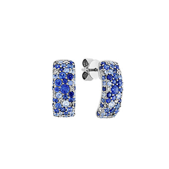 afab02f04 Traditional Blue Sapphire and Diamond Earrings in 14k White Gold