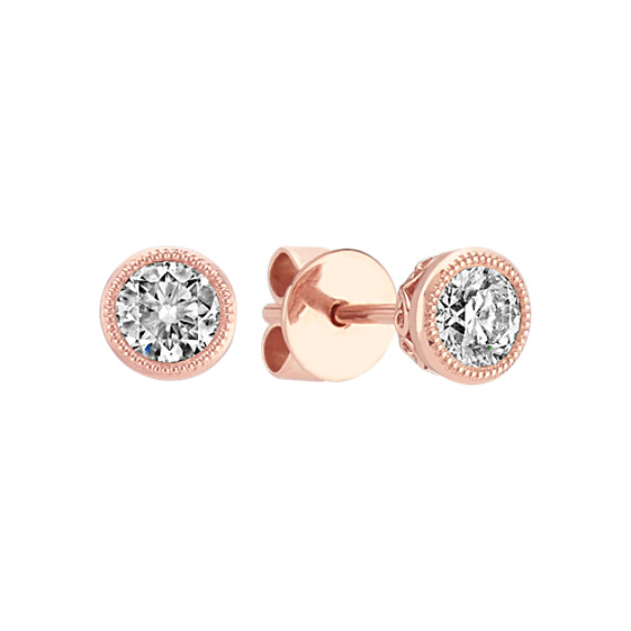 Bezel-Set Diamond Earrings in 14k Rose Gold