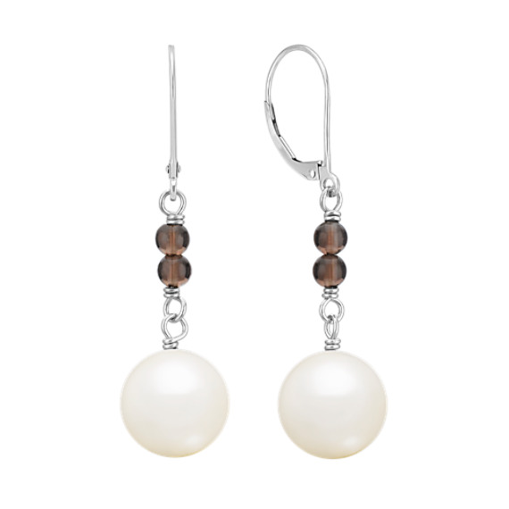 10mm Cultured South Sea Pearl and Smoky Quartz Earrings