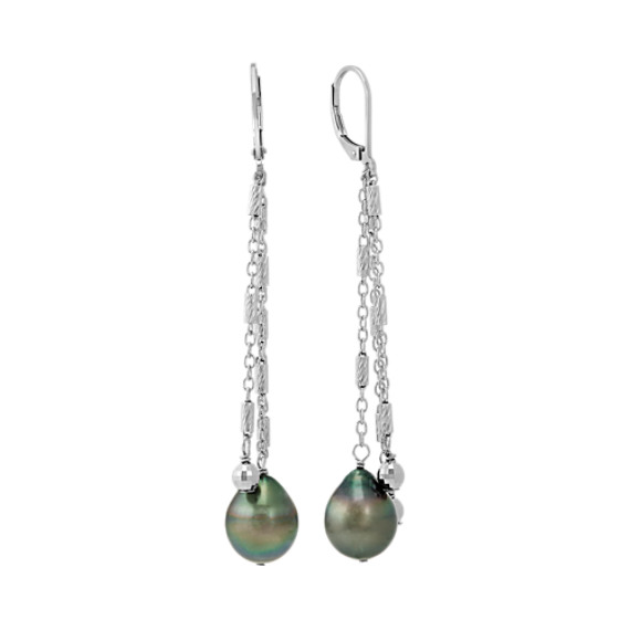 10mm Cultured Tahitian Pearl and Sterling Silver Dangle Earrings