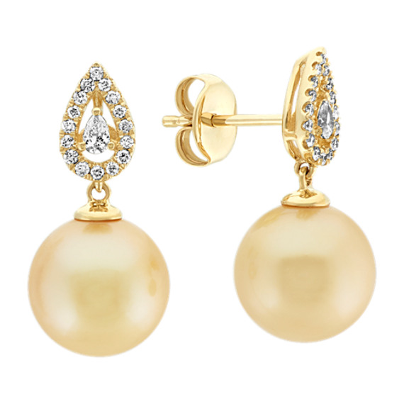 10mm Golden South Sea Pearl and Diamond Dangle Earrings