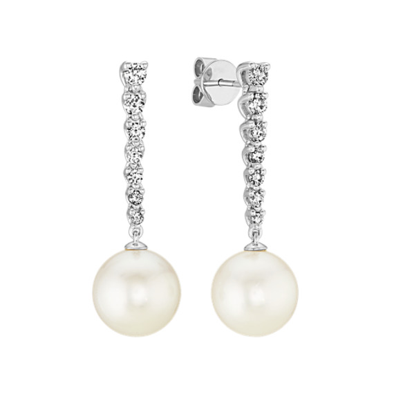 10mm South Sea Pearl and Diamond Dangle Earrings