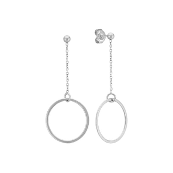 14k White Gold Dangle Circle Earrings