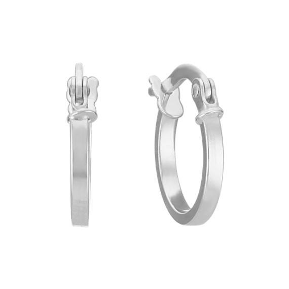 14k White Gold Hoop Earrings image