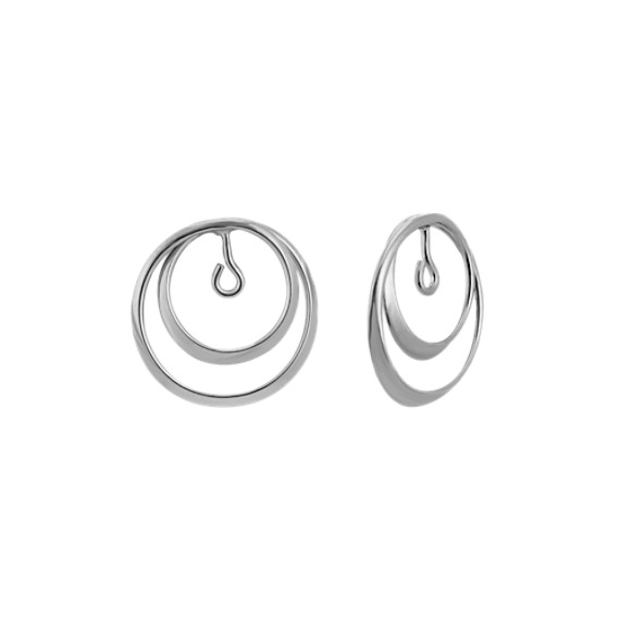 14k White Gold Ripple Circle Earring Jackets