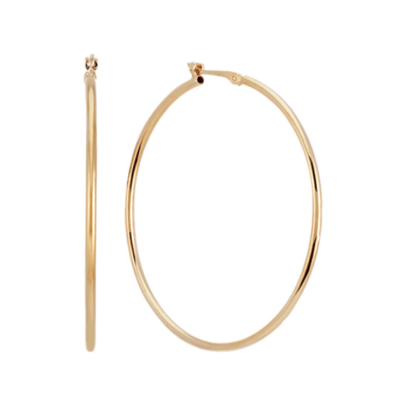 14k Yellow Gold 1.5 inch Hoop Earrings