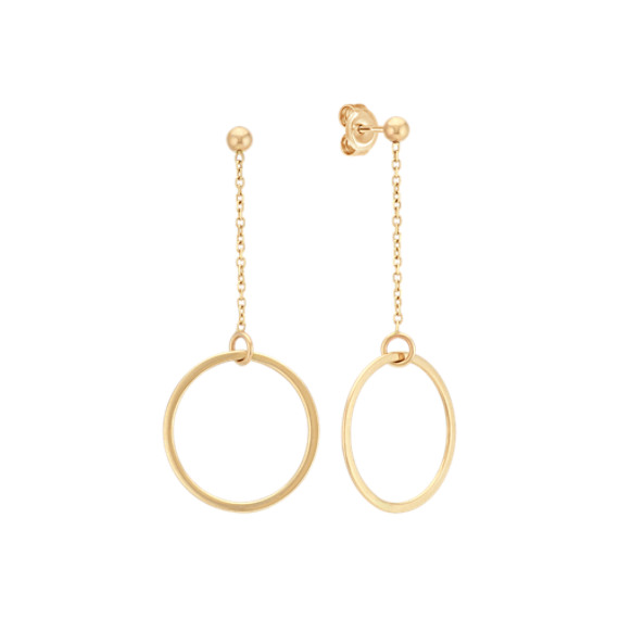 14k Yellow Gold Dangle Circle Earrings