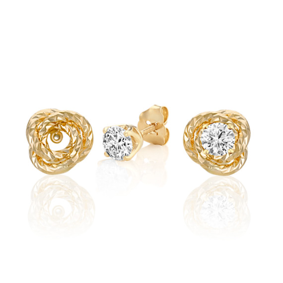 14k Yellow Gold Knot Earring Jackets image