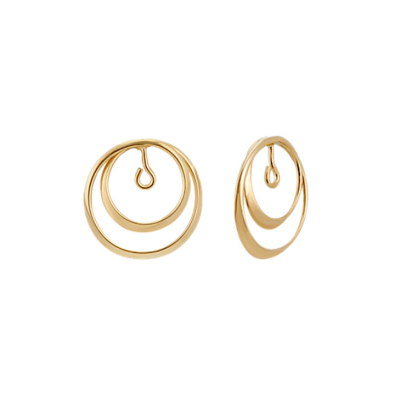 14k Yellow Gold Ripple Circle Earring Jackets