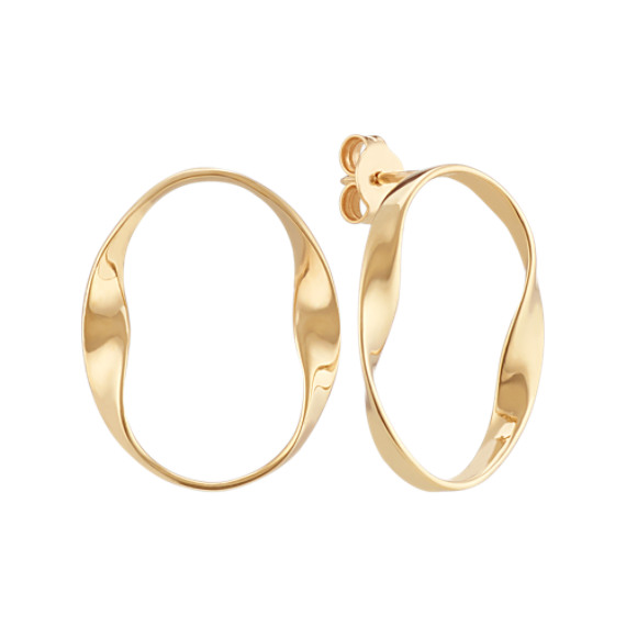 14k Yellow Gold Twisted Circle Earrings