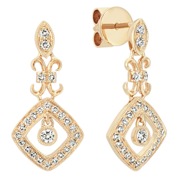 14k Yellow Gold Vintage Diamond Dangle Earrings