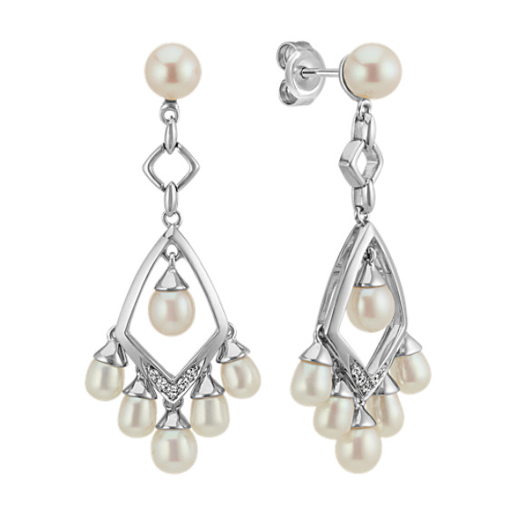 3.5-6mm Cultured Freshwater Pearl and Round Diamond Dangle Earrings