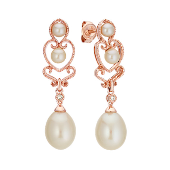 3 5 9mm Cultured Freshwater Pearl And Diamond Dangle Earrings In Rose Gold