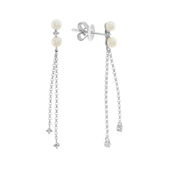3mm Cultured Freshwater Pearl and Diamond Dangle Earrings