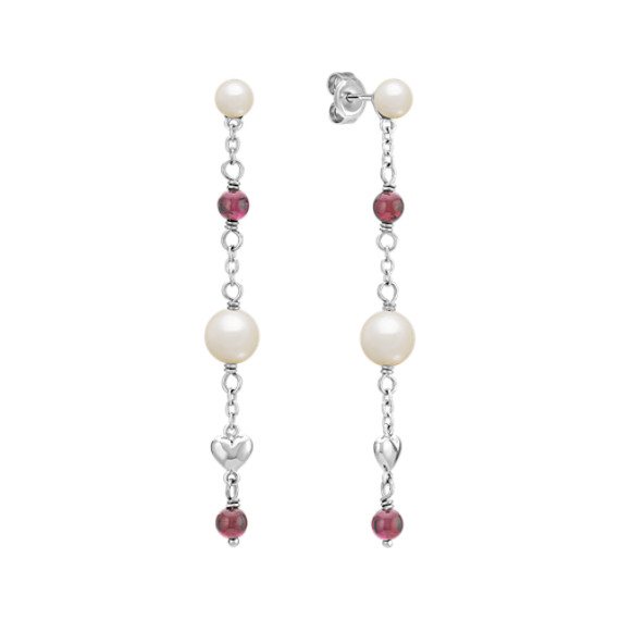 4.5-6.5mm Cultured Freshwater Pearl and Garnet Earrings in Sterling Silver