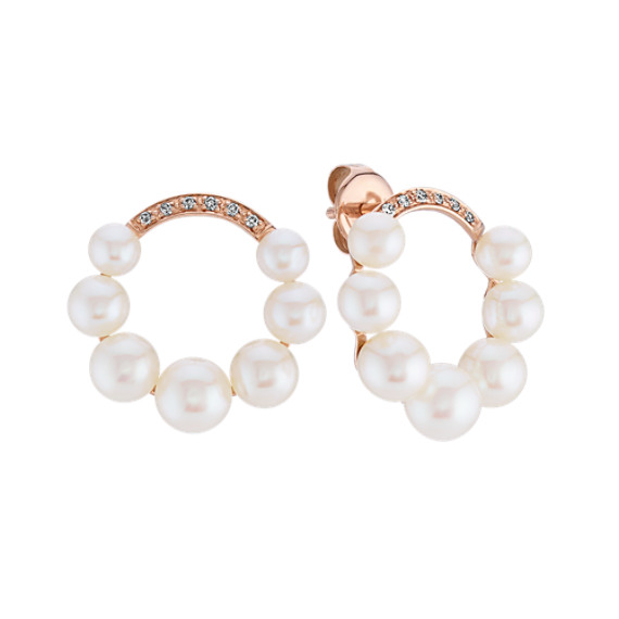4mm Cultured Freshwater Pearl and Diamond Circle Earrings