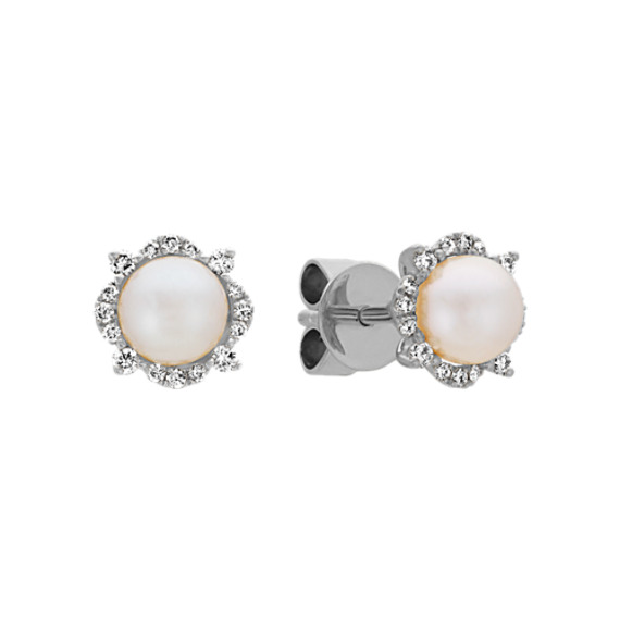 5mm Cultured Akoya Pearl and Diamond Earrings in 14k White Gold