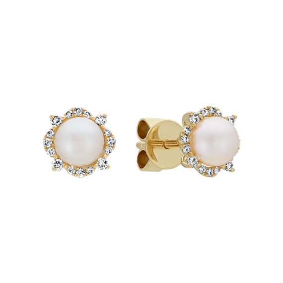 5mm Cultured Akoya Pearl and Diamond Earrings in 14k Yellow Gold