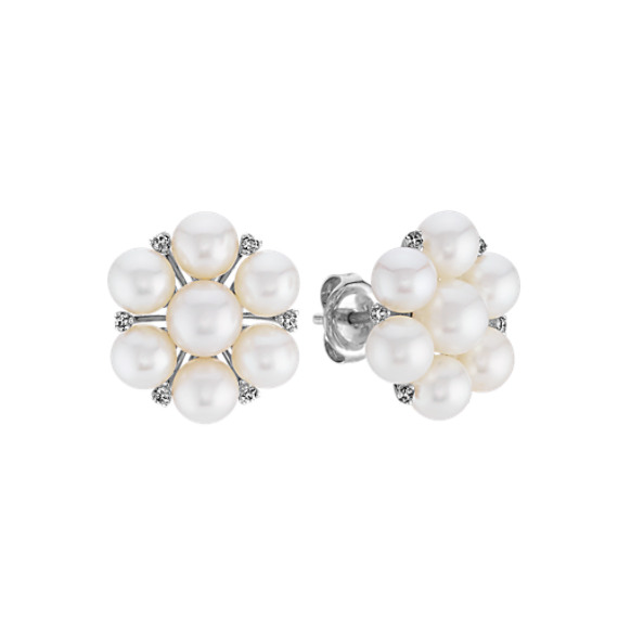5mm Cultured Freshwater Pearl and Diamond Cluster Earrings