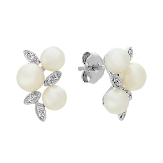 5mm Cultured Freshwater Pearl and Diamond Earrings