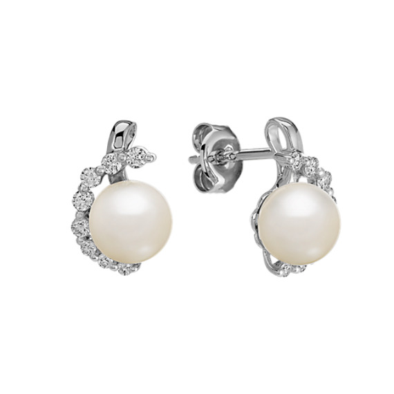 6.5mm Cultured Akoya Pearl and Round Diamond Earrings