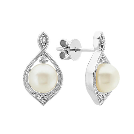6.5mm Freshwater Pearl and White Sapphire Earrings