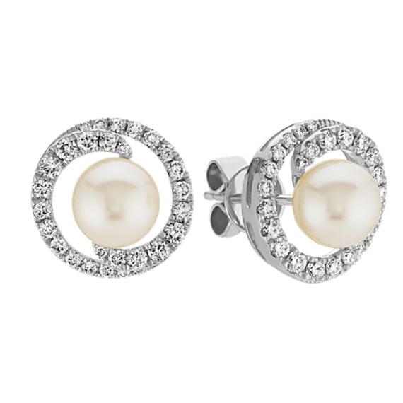 6mm Akoya Pearl and Diamond Earrings in 14k White Gold