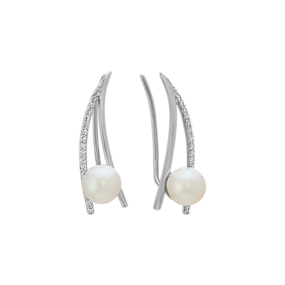6mm Freshwater Pearl and Diamond Climber Earrings