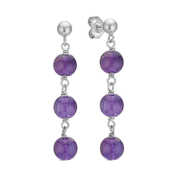 6mm Purple Amethyst Bead Dangle Earrings
