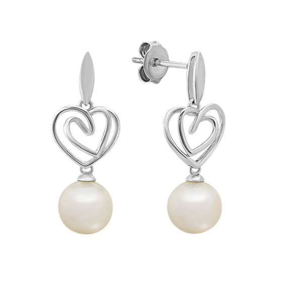 7.5-8mm Cultured Freshwater Pearl Heart Earrings