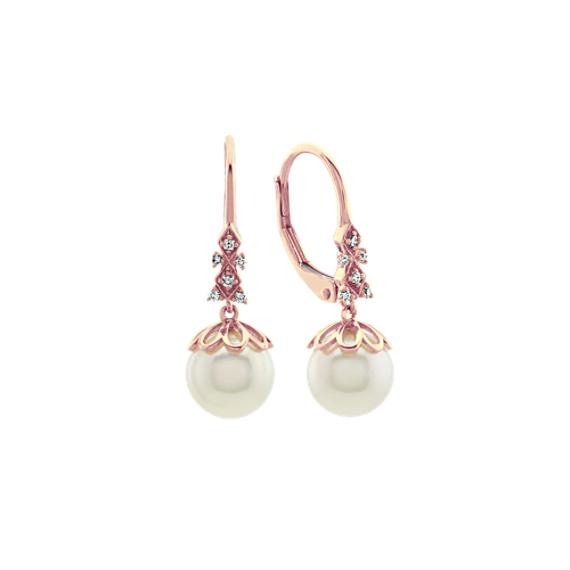 7.5mm Cultured Akoya Pearl and Diamond Dangle Earrings